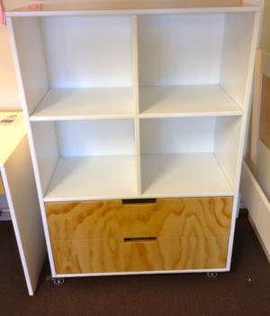 Trendy Two Drawer 4 Cubby Bookcase