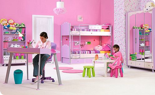 Kids Room Furniture on This Stylish Lilac And White Children S Bedroom Furniture Range Will