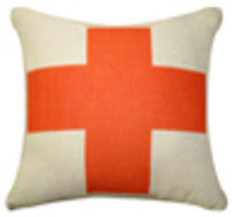 Cushion | Orange Cross on natural line